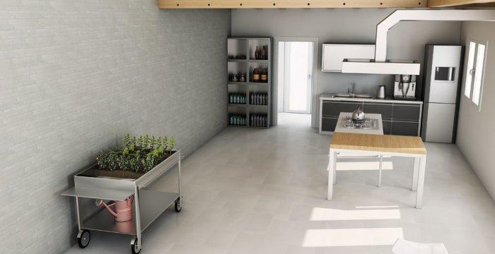 cocina en gris monocolor