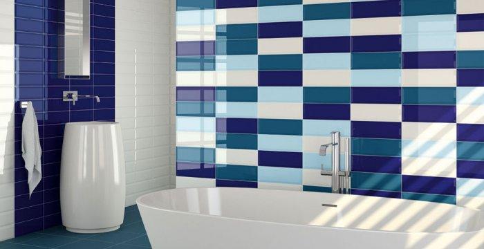 Azulejos Baño Azules:BAÑO: Mezcla estilos, colores y formas – Materiales de Construcción