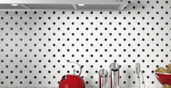 gresite hexagonal blanco y negro