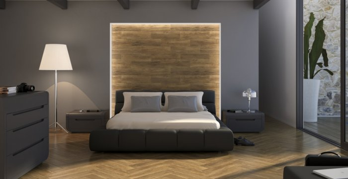 Cabezal de cama en cerámica imitación madera