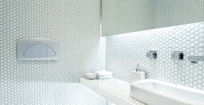 Mosaico hexagonal blanco